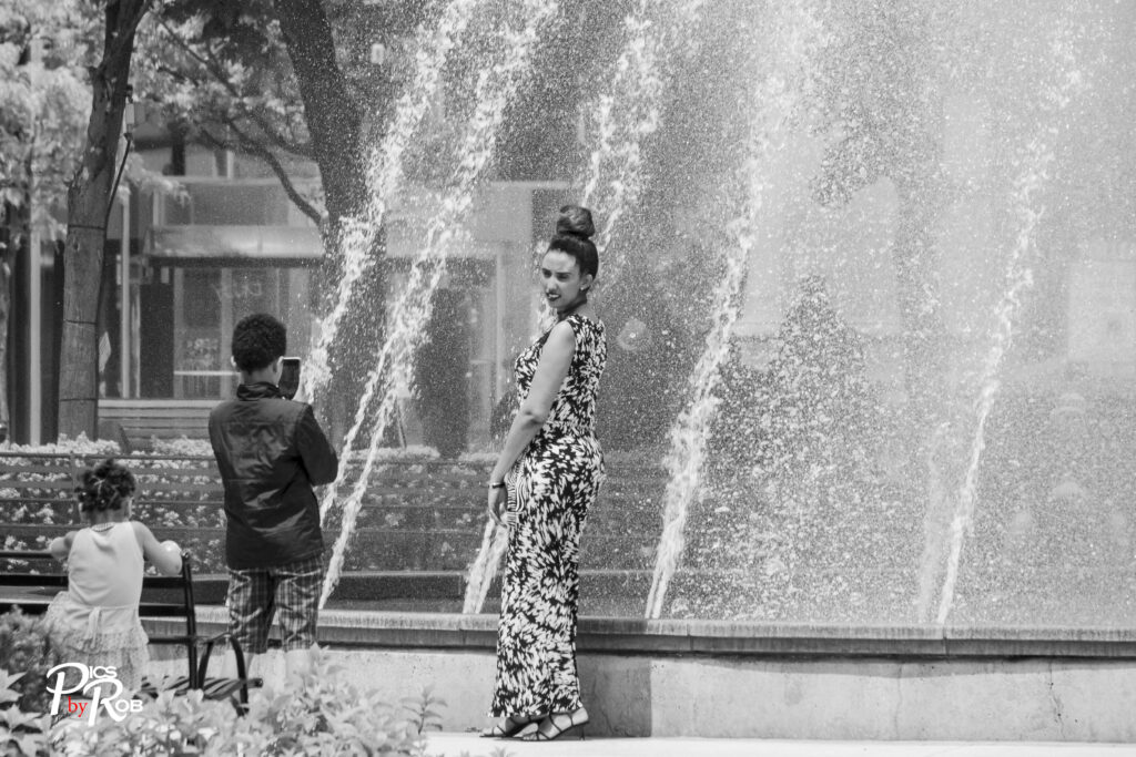 Taking Selfies by the fountain